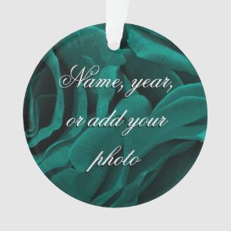 Ornamento Foto floral dos rosas aveludado azul esverdeado