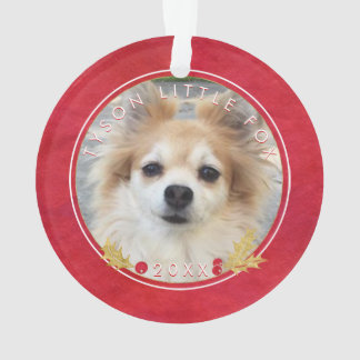 Ornamento FOTO vermelha do ANIMAL DE ESTIMAÇÃO da aguarela