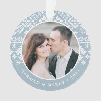 Ornamento Foto Wedding do teste padrão | da camisola do