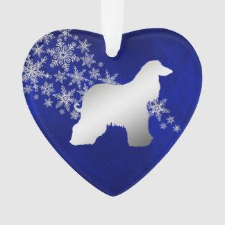 Ornamento Galgo afegão de prata azul do floco de neve