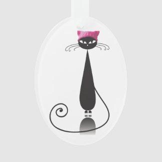 Ornamento Gato cor-de-rosa do gatinho do chapéu