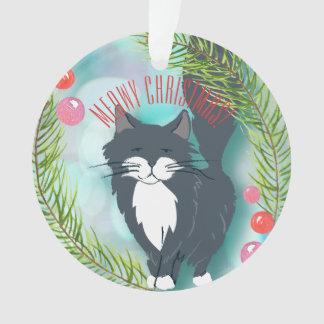 Ornamento Gato preto cinzento desejando lhe o Feliz Natal