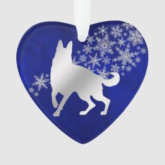 Ornamento German shepherd de prata azul do floco de neve