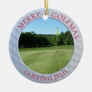 Ornamento Golfing alegre da foto do golfe do pai