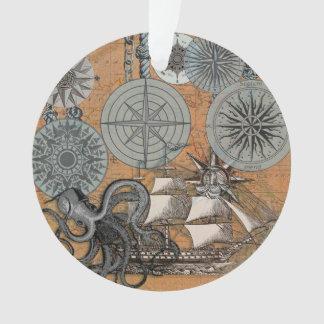 Ornamento Gráfico náutico do impressão da arte da navigação