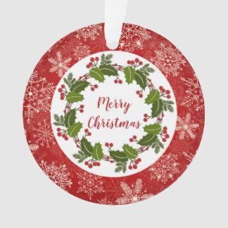 Ornamento Grinalda do azevinho, foto do Natal dos flocos de