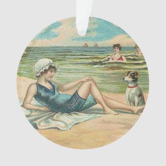 Ornamento Ilustração antiga Beachy do litoral