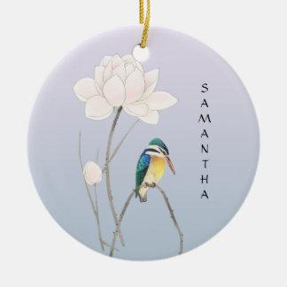 Ornamento japonês de Lotus do vintage do monograma