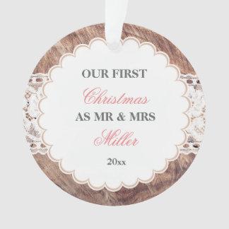Ornamento Laço de madeira rústico Wedding dos primeiros