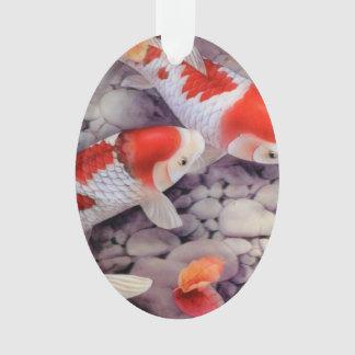 Ornamento Lagoa de peixes vermelha e branca de Koi