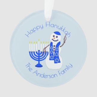 Ornamento Lembrança de Menorah Chrismukkah do boneco de neve