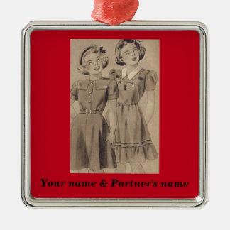 Ornamento lésbica - personalize ambos os nomes