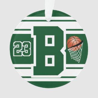 Ornamento Letra & número verdes escuro e brancos do