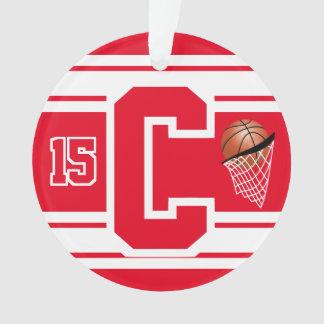 Ornamento Letra & número vermelhos e brancos do basquetebol