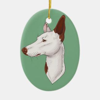 Ornamento liso verde do cão de Ibizan da hortelã