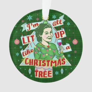 Ornamento Lit retro da mulher do humor do bebendo do Natal