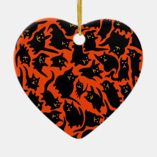 Ornamento louco do coração dos gatos do Dia das