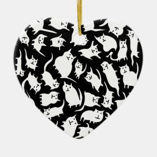 Ornamento louco preto e branco do coração dos