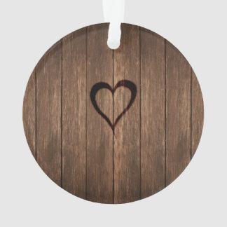 Ornamento Madeira rústica impressão queimado do coração