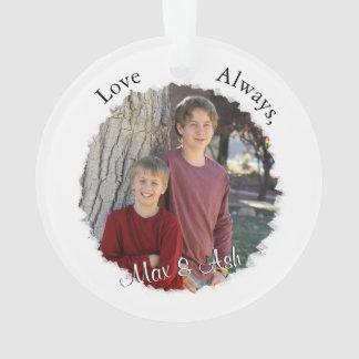 Ornamento Mãe e criança com texto & a foto feitos sob