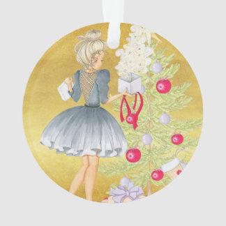 Ornamento Mágica do Natal - louro que decora uma árvore
