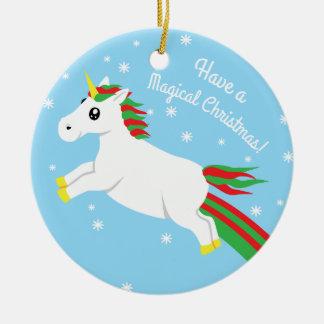 Ornamento mágico do unicórnio do Natal