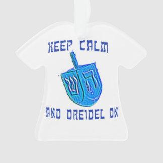 Ornamento Mantenha a calma e o Dreidel sobre