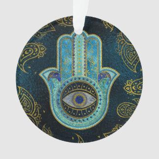 Ornamento Mão decorativa de Hamsa com fundo de paisley