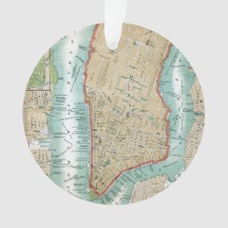 Ornamento Mapa antigo do Lower Manhattan e do Central Park