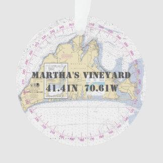 Ornamento Martha's Vineyard 2-Sided náutico comemorativo