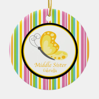 Ornamento médio amarelo da borboleta da irmã