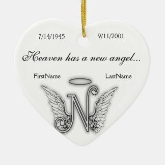 Ornamento memorável N do tributo do monograma