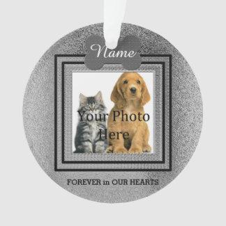 Ornamento Memórias perfeitas de prata do cão ou do gato