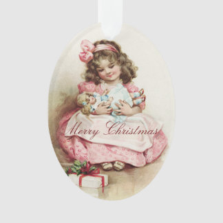 Ornamento Menina do vintage com boneca