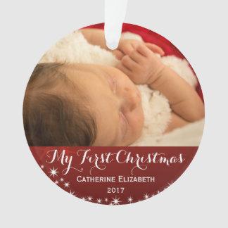 Ornamento Meu primeiro Natal - foto do Natal do bebê