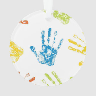 Ornamento Miúdos Handprints na pintura