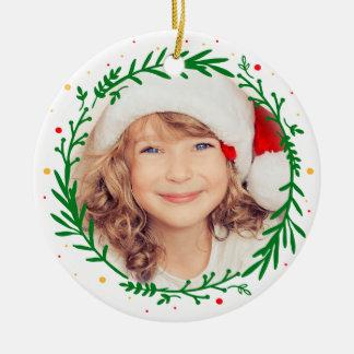 Ornamento moderno da foto da grinalda do Natal