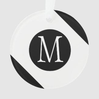 Ornamento Monograma branco & preto moderno, simples & à moda