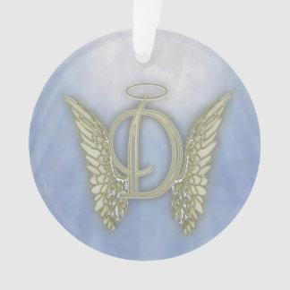 Ornamento Monograma do anjo da letra D