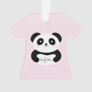 Ornamento Monograma feminino bonito do urso de panda do bebê