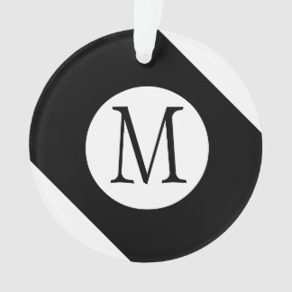 Ornamento Monograma preto e branco moderno, simples & à moda