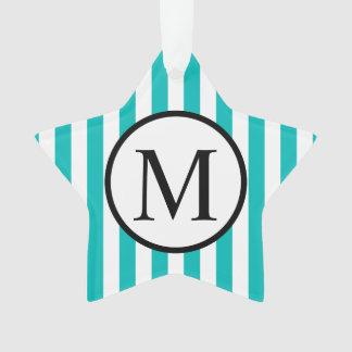 Ornamento Monograma simples com as listras verticais do Aqua
