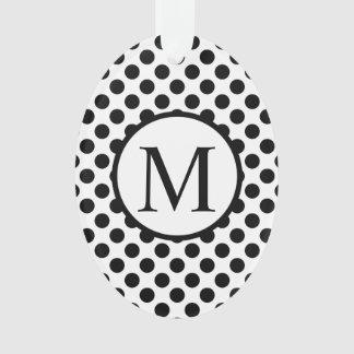 Ornamento Monograma simples com bolinhas pretas