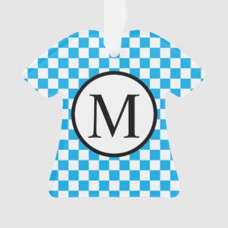 Ornamento Monograma simples com tabuleiro de damas azul