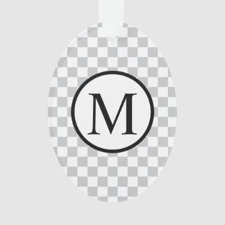 Ornamento Monograma simples com tabuleiro de damas cinzento
