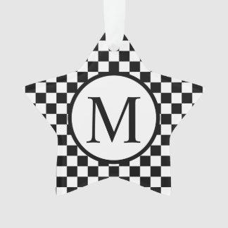 Ornamento Monograma simples com tabuleiro de damas preto