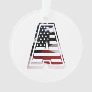 Ornamento Monograma uma inicial americana da bandeira dos