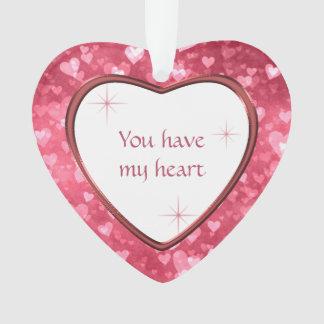 Ornamento Namorados do teste padrão do coração você tem meu