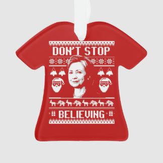 Ornamento Natal de Hillary - não pare de acreditar - branco
