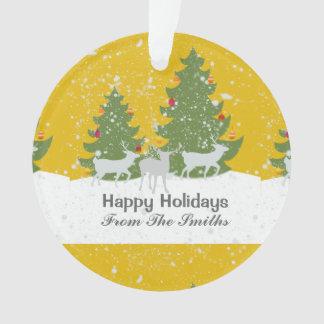 Ornamento Natal dourado da natureza da neve do inverno do